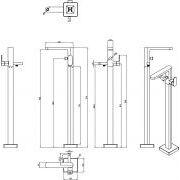 Напольный смеситель для ванны Ravak CR 080.00 схема