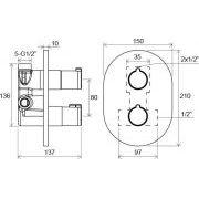 Термостатический смеситель Ravak Chrome скрытого монтажа c переключателем CR 063.00 схема