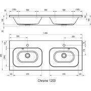 Сдвоенный умывальник Ravak Chrome 1200 схема