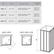 Душевой уголок Ravak ASRV3-75+ASRV3-90 схема