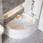 Акриловая ванна Ravak Rosa I 150x105 P в интерьере со шторкой