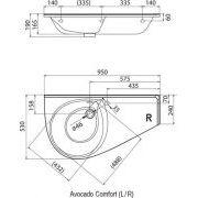 Умывальник Ravak Avocado Comfort 950x530 правый схема