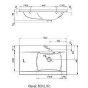 Умывальник Ravak Classic 800 левый схема