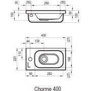 Умывальник Ravak Chrome 400 левый схема