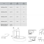 Шторка для ванны Ravak ROSA VSK2-170 левая схема