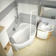 Шторка для ванны Ravak ROSA VSK2-140 правая в интерьере