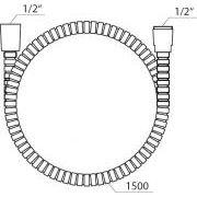 Шланг душевой Ravak из прочного пластика 912.50 150 см схема