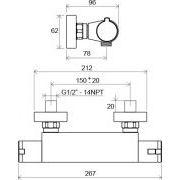 Термостатический смеситель Ravak TE 033.00/150 схема
