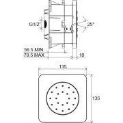 Форсунка массажная Ravak скрытого монтажа Chrome-990.00 135 мм схема