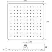 Верхний душ Ravak Chrome квадратный 300 мм 982.00 схема
