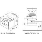 Тумба по умывальник Ravak SD 800 CHROME II схема