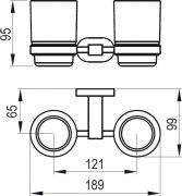 Двойной держатель с двумя стаканами Ravak CR 220.00 - схема