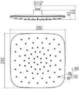 Насадка для душа ABS 250 мм 983.10 схема
