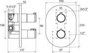 Термостатический смеситель скрытого монтажа c переключателем CR 063.00