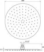 Верхний душ Chrome круглый 300 мм 984.00 схема