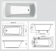 Акриловая ванна Ravak Domino 170x75 схема